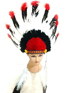Headpiece Cosplay Festival/Holiday Halloween Costumes Red Patchwork Headpiece Halloween / Carnival Unisex Feather