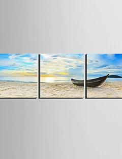 E-Home® Leinwand bist das Schiff am Ufer Dekoration Malerei Set von 3 angedockt