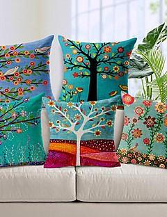 set om 5 vacker blomma träd bomull / linne dekorativa örngott
