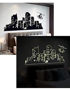 lumineux Stickers muraux stickers muraux, style à plusieurs étages des bâtiments muraux PVC autocollants