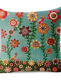 fleurs colorées coton / lin taie d'oreiller décoratif