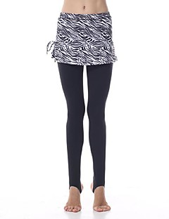 Yokaland Yoga Pants Body Shaper Elegant Slim Fit Stirrup Legging With Zebra Print On Skirt Sports Wear