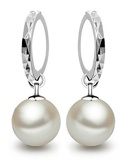 Women's Drop Earrings Hoop Earrings Elegant Bridal Costume Jewelry Pearl Sterling Silver Ball Jewelry For Wedding Party Gift Daily Casual