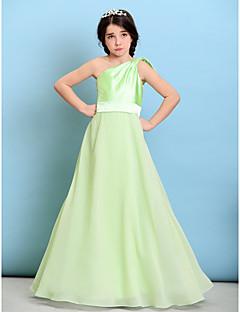 Lanting Bride® Floor-length Chiffon / Stretch Satin Junior Bridesmaid Dress A-line One Shoulder with Bow(s) / Sash / Ribbon