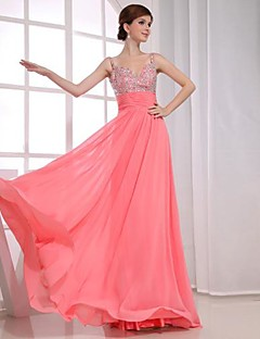 Formal Evening Dress - Watermelon Plus Sizes A-line V-neck Floor-length Chiffon