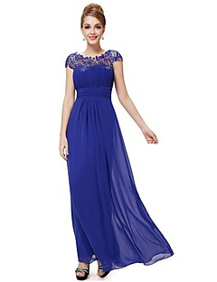Formal Evening Dress - Royal Blue / Black / Grape / Ruby Plus Sizes A-line Jewel Floor-length Chiffon