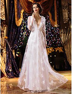 A-line Wedding Dress - White Floor-length V-neck Lace