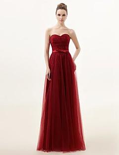 신부 들러리 드레스 A라인 바닥 길이 스위트하트 레이스