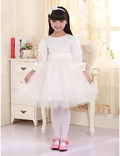 Princess Knee-length Flower Girl Dress - Satin / Tulle 3/4 Length Sleeve Jewel with Appliques