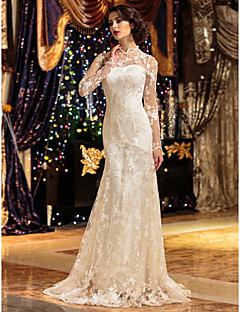 Lanting A-line Petite / Plus Sizes Wedding Dress - Ivory Sweep/Brush Train High Neck Lace