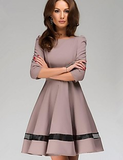Work A Line / Skater Dress,Solid Round Neck Knee-length ¾ Sleeve Red / Yellow Cotton / Polyester Spring / Fall Inelastic Medium