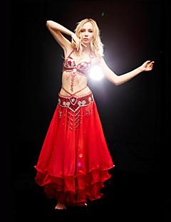 Tenue(Rouge / Jaune,Polyester,Danse du ventre / Salle de bal)Danse du ventre / Salle de bal- pourFemme Perle / Paillettes Entraînement
