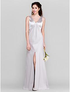 Floor-length Stretch Satin Bridesmaid Dress - Silver Plus Sizes / Petite Sheath/Column V-neck