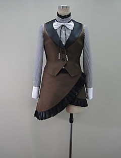 Inspired by Vocaloid Gumi Video Game Cosplay Costumes Cosplay Suits Patchwork Brown Long Sleeve Coat / Blouse / Skirt / Gloves / Stockings