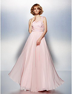TS Couture® Formal Evening Dress Plus Size / Petite A-line Scoop Floor-length Chiffon with Appliques / Beading / Ruching