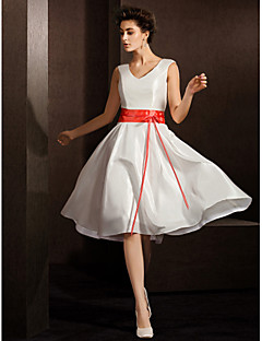 A-line Wedding Dress - Ivory Knee-length V-neck Taffeta