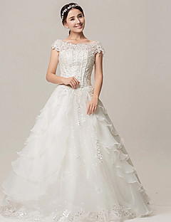 A-line Wedding Dress - White Floor-length Off-the-shoulder/Square Organza