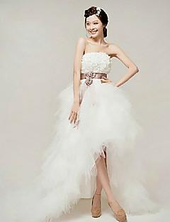 Vestido de Noiva - Branco Trapézio Sem Alças Mimolet Organza
