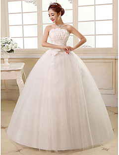 Ball Gown Wedding Dress Floor-length Strapless Satin / Tulle with Sequin / Flower / Side-Draped