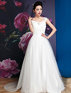 A-line Wedding Dress - White Floor-length Square Silk