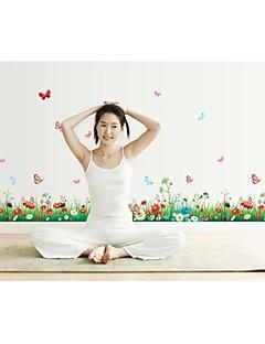 muurstickers muur stickers, stijl vers gras vlinder bloemen pvc muurstickers