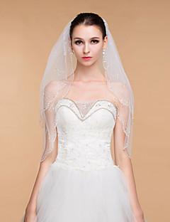 Vjenčanje veils elegantne ženske tila rhinestone dvoslojni vrpcom rub koprene