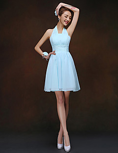 Short / Mini Bridesmaid Dress - Lace-up Sheath / Column Halter with Ruching