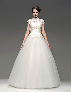 Abito da sposa - Bianco e champagne (il colore può variare a seconda del monitor) Stile Principessa A lupetto Raso terra