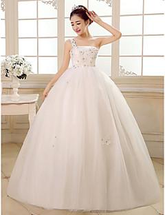 Ball Gown Floor-length Wedding Dress -One Shoulder Tulle