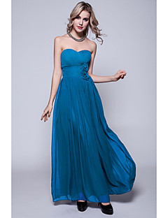 Floor-length Chiffon Bridesmaid Dress - Ink Blue / Pool / Regency / Black / Burgundy / Ruby / Fuchsia / Silver / Jade / Royal Blue
