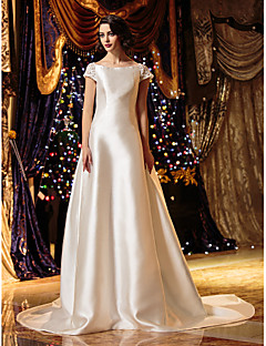 A-line/Princess Wedding Dress - Ivory Court Train Bateau Satin