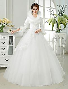 웨딩 드레스 - 아이보리(색상은 모니터에 따라 다를 수 있음) 볼 가운 바닥 길이 하이넥 사틴/튤