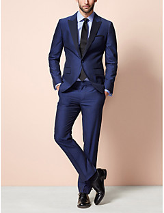 Dark Blue 85% Polyester 15% Rayon Tailored Fit Two-Piece Tuxedo