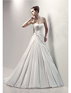 A-line Wedding Dress Court Train/Floor-length Sweetheart Satin Chiffon