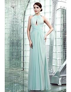 Formal Evening Dress - Beautiful Back Sheath / Column High Neck Floor-length Chiffon with Beading