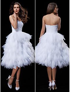 웨딩 드레스 - 화이트 볼 가운 무릎 길이 스윗하트 튤