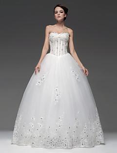 Princess Floor-length Wedding Dress -Strapless Satin