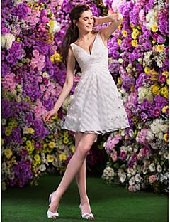 lan ting vestido de noiva uma linha / princesa - mini-organza marfim curto / v-pescoço