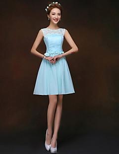 Short/Mini Bridesmaid Dress - Sky Blue A-line / Princess One Shoulder