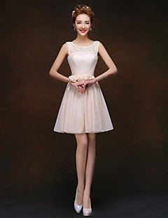 Knee-length Bridesmaid Dress - Champagne A-line / Princess Scoop