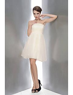 Knee-length Chiffon / Lace Bridesmaid Dress - White / Champagne / Watermelon / Sky Blue A-line Strapless
