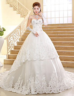 Ball Gown Wedding Dress Cathedral Train Sweetheart Lace