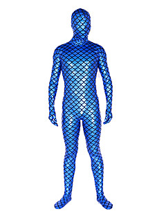 Shiny Zentai Suits Ninja Zentai Cosplay Costumes Blue Solid Leotard/Onesie / Zentai Shiny Metallic Unisex Halloween / Christmas