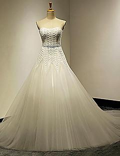 גזרת A מחשוף לב שובל קורט (ארוך) שמלות כלה  ( טול )
