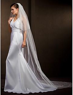 결혼식은 여성의 우아한 얇은 명주 그물 2 층 구슬 가장자리 베일 베일