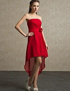 Brautjungfernkleid Chiffon - A-Linie - asymmetrisch - trägerloser Ausschnitt