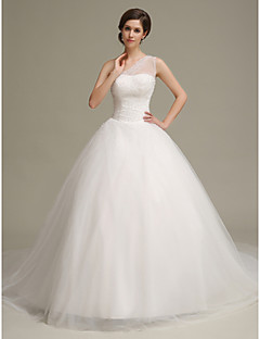 Ball Gown Chapel Train Wedding Dress -One Shoulder Tulle