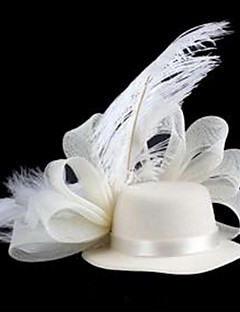 Hat-Shaped With Feather Mesh Hairpin White (1Pc)