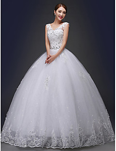 Ball Gown Wedding Dress Floor-length V-neck Lace with