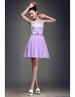 Knee-length Chiffon Bridesmaid Dress - Elegant / Lace-up Ball Gown Jewel with Lace